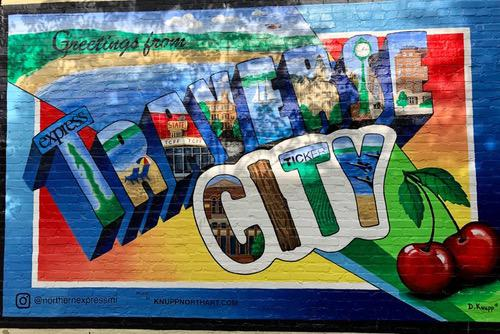 Colorful painting of Traverse City